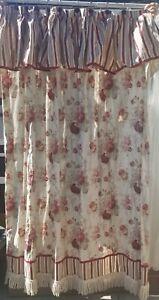 Waverly Garden Room  Norfolk Rose Fabric Shower Curtain Flowers Stripes Red Pink