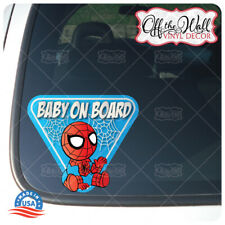 """Baby Spiderman """"BABY ON BOARD"""" Sign Vinyl Decal Sticker for Cars/Trucks"""