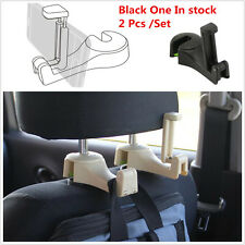 2Pcs Car Headrest Backseat Phone/Bag Hook Mount Holder for Passeger Black