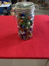 Lot Of Vintage Marbles In Glass Mason Jar. Approx 200 Maybe More Or Less