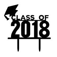 DIY Class of 2018 Black Cake Topper Graduation Party Cake Decoration Cake T D1L8