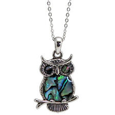 "Owl Charm Pendant Fashionable Necklace - Abalone Paua Shell - 18"" Chain"