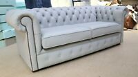 CHESTERFIELD TUFTED BUTTONED 3 SEATER SOFA REAL LIGHT GREY LEATHER 2 CUSHI