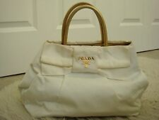 Authentic Prada White Bow Tote Bag Purse with Gold Straps