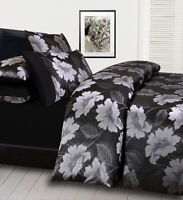 New 3 Pce CELIA Black Silver Jacquard DOUBLE Size Quilt Doona Cover Set