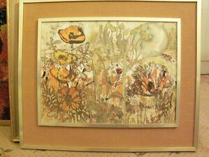 Picture oil on card 'Orange Flowers' unamed 51x39cm with 67x56cm 1970's frame
