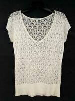 BANANA REPUBLIC Off White Linen Knit Lace Top Short Sleeved Summer Sweater XS