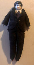 Antique German Male Or Boy China Head Doll 6� Tall Wearing Black Tux/Suit