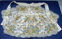vintage handmade cotton  handkerchief flower pattern pocket front half apron