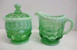 MOSSER GLASS GREEN OPAL EYE WINKER PATTERN CREAM, SUGAR+LID