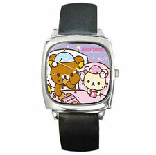 Rilakkuma Sleeping Teddy Bear family leather wrist watch