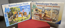 """(2) Super 100 Puzzles Ravensburger 'Outing On  Horseback & Summer Place' 14""""x19"""""""