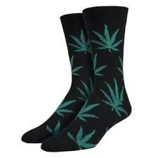Socksmith Men's Crew Socks Marijuana Pot Leaf Black Novelty Footwear 420 Spirit