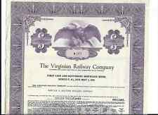 1972 Virginia Railway  RR STOCK Certicate/Bond