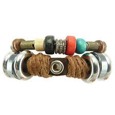 Bracelet femme homme réglable Cuir Coton Perles Bois Métal tribal ethnique