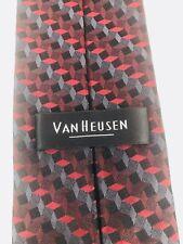 New VAN HEUSEN 100% Silk Geometric Tie Men's Burgundy Red Silver Black Necktie