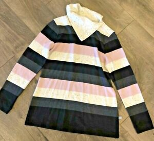 T By Talbots Womens Blouse Top Size P Petite Striped Longsleeve Casual