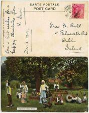 BURMA to IRELAND EARLY PPC 1907 VILLAGE POAY DANCERS + MUSICIANS