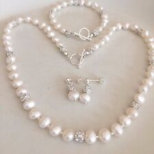 DESIGNER BAROQUE FRESHWATER PEARL WEDDING JEWELRY SET HANDMADE STERLING SILVER