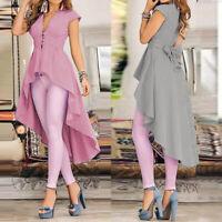 ZANZEA Women V Neck Low Cut Plunging Top High Low Blouse Tee Peplum Tunic Shirt