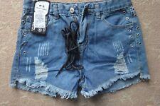 """Perfect Cowboy"" distressed blue denim shorts size M 28"" waist. NWT"