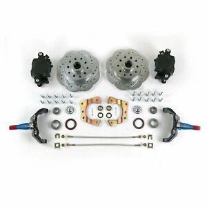 "Mustang II Front Disc Brake Kit 11"" Plain Rotors Ford 2"" Drop Spindles Wavestop"
