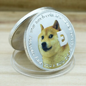 1pcs Dogecoin Challenge Coin Silver Plated Metal Coins for Holiday Gift
