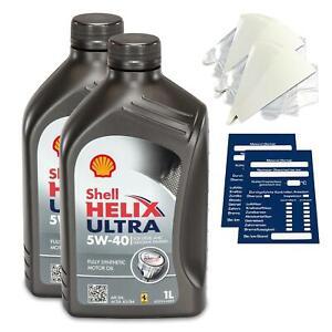 2 Litre Original Shell Helix Ultra Huile 5W40 Incl. Entonnoir + Remorque