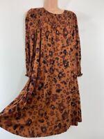 BNWOT NEXT brown black animal leopard print smock jersey dress size 12 euro 40