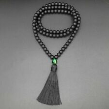 Hand Knotted Natural Onyx & Green Tigers Eye 8mm Bead Tassel Necklace Beads Yoga