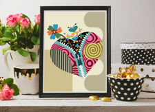 Wall Art Love Heart Print Floral Abstract Design Butterfly Home Decor Painting