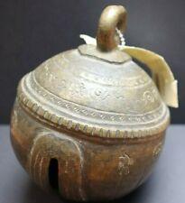 Elephant Ball Bell Burma Ornate flower bird carving brass metal antique cowbell