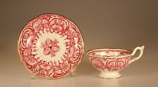 """Coalport Vintage Red """"Pattern #5012B"""" Cup and Saucer, England c. 1945"""