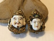 Vintage Japanese Toshikane Porcelain Face Clip on Earrings Oriental Asian