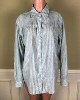 Elizabeth and James Womens Blouse Top Linen Blend Pintuck Stripe Oversize Size S