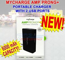 MYCHARGE AMP PRONG+ 6000mAh PORTABLE CHARGER WITH 2 USB PORTS QUICK CHARGE NEW!