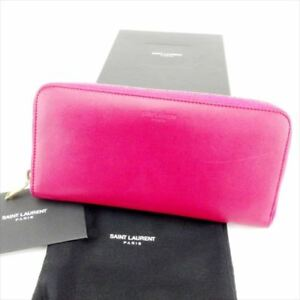 Saint Laurent Wallet Purse Long Wallet Logo Pink Gold Woman Authentic Used T6790