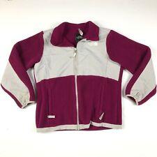 The North Face Girls Magenta Pink White Zip Up Denali Fleece Jacket Sz L 14-16