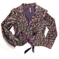 Free People Burgundy Floral Velvet Blazer Jacket Ribbon Tie Size 12