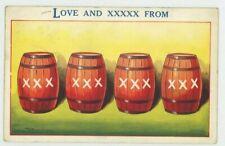 Love and XXXXX Beer Barrel Comic Postcard, C050