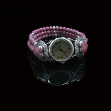 VINTAGE .925 Sterling Silver Rhodonite Rhodochrosite Heart Wristwatch Watch