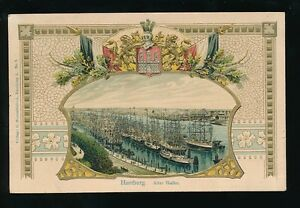 Germany HAMBURG Alter Hafen Heraldic embossed Used 1909 PPC