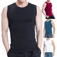 Summer Mens Tank Tops Casual Elastic Fitness Solid Sleveless Vest Slimming Tops