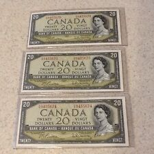 "Lot of 3 - 1954 CANADIAN 20 DOLLAR BILL PREFIX C/W ""3 UNC CONSECUTIVE NOTES"""