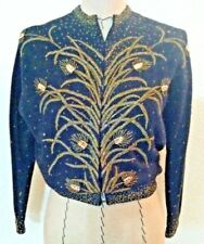 Vintage 30's women sweater cardigan black gold bead floral button Beautiful!