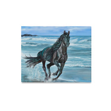 Custom Photo to Canvas Print Running Horse Beach Framed Canvas Print 16X20 Inch