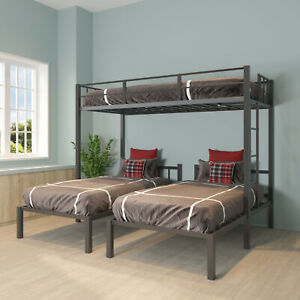 Full Over Twin & Twin Bunk Bed Triple Bunk bed STEEL For Home Bedroom
