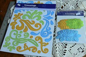 A4 CHIPBOARD Flourishes BOY Sheet BLUE YELLOW GREEN Scrolls & Flowers - fti L6