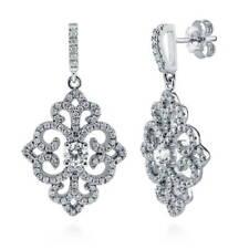 BERRICLE Sterling Silver CZ Art Deco Filigree Wedding Dangle Drop Earrings