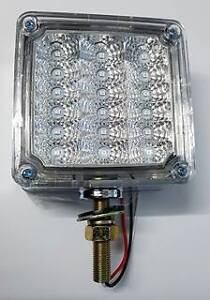 """4"""" Square 1 Post LED Indicator Light Clear/Amber to suit WS,Kenworth and Mack"""
